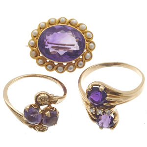 Collection of Victorian Amethyst, Diamond, Glass Jewelry Items