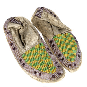 Pair of Native American Plains Beaded Moccasins