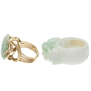 Collection of Two Carved Jadeite, 14k Rings