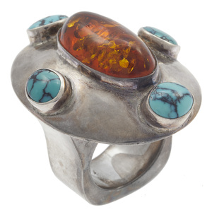 Amber, Turquoise, Sterling Silver Ring