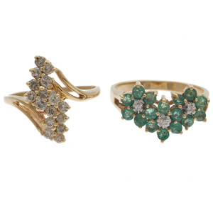 Collection of Two Diamond, Emerald, 14k  Rings