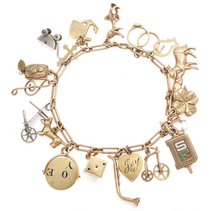 Yellow Gold and Sterling Silver Charm Bracelet