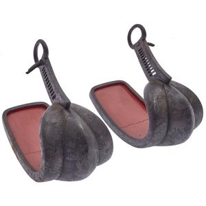 Pair of Japanese Cast Iron Stirrups, Edo Period