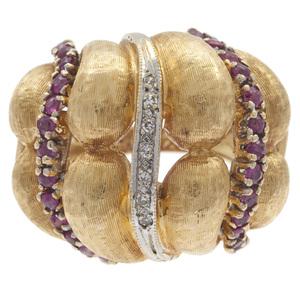 Diamond, Ruby, 14k Yellow Gold Ring