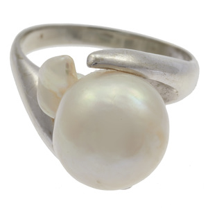 Cultured Pearl, 14k White Gold Ring