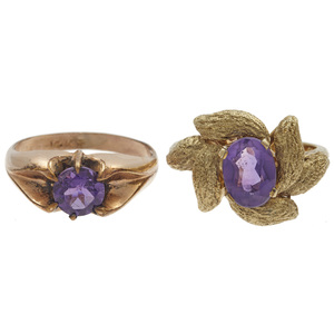 Collection of Two Amethyst, 14k Rings