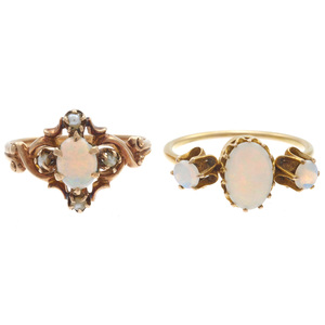 Collection of Two Victorian Opal, Gold Rings