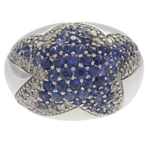 Diamond, Sapphire, 18k White Gold Ring