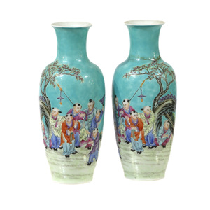 Pair of Famille Rose 'Boys' Vases, 20 century