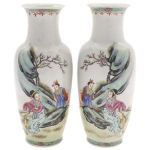 Pair of Famille Rose Vases, 20th century