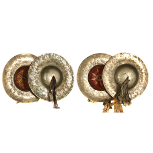 Two Pairs of Tibetan Bronze Temple Cymbals
