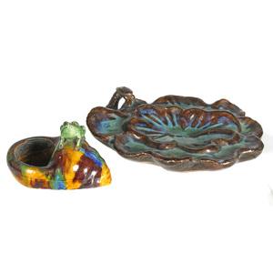 Two Glazed Ceramic Brush Washers, 19th century