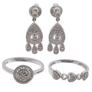 Collection of Diamond, White Gold Jewelry Items