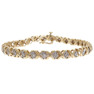 Diamond, 10k Yellow and White Gold Hugs and Kisses Bracelet