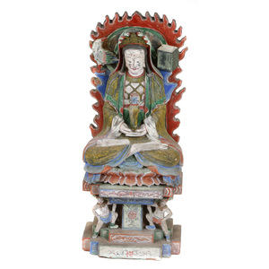 Large Polychrome Stone Guanyin Figure, Qing dynasty