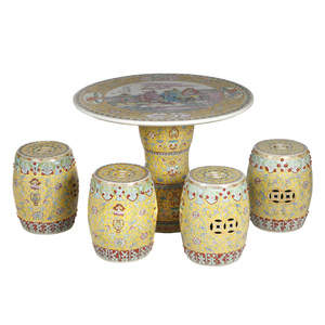 Famille Rose Garden Table and Stools Set, 20th century