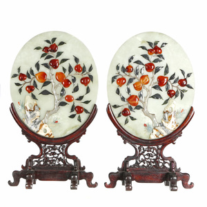 Pair of Hardstone Embellished Table Screens, 20th century