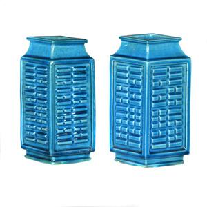 Pair of Turquoise Glazed Lozenge Form Vases, 19th century