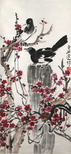 Woodblock Print after Qi Baishi (1864-1957): Magpies