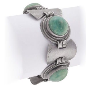 Modernist Mexican Hardstone, Sterling Silver Bracelet