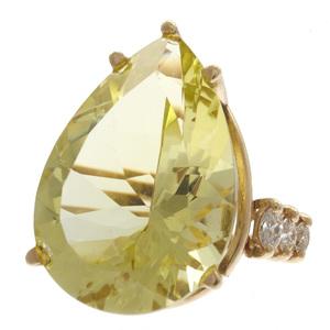 Lemon Quartz, Diamond, 14k Yellow Gold Ring