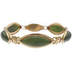 Nephrite, 14k Yellow Gold Bracelet