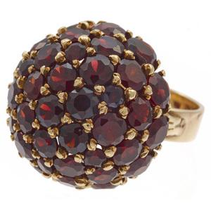 Garnet Cluster, 14k Yellow Gold Ring