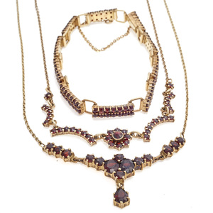 Collection of Garnet, Silver Gilt Jewelry Items