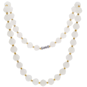 White Jadeite, Carved Bead Necklace