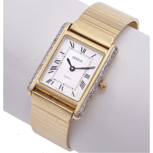 Ladies Geneve Diamond, 14k Yellow Gold Wristwatch