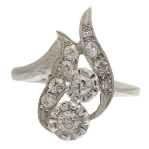 Diamond, 14k White Gold Flower Ring