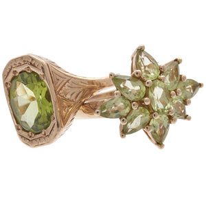 Collection of Two Peridot, Yellow Gold Rings
