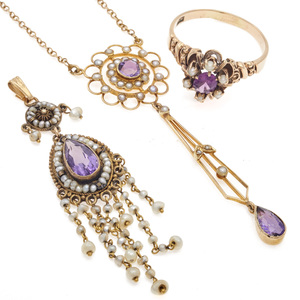 Collection of Amethyst, Seed Pearl, Glass, Gold Jewelry Items