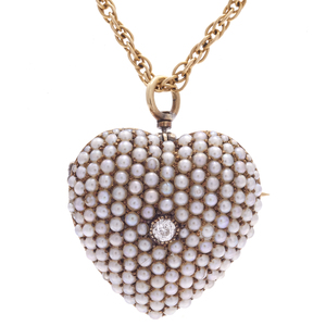 Victorian Diamond, Seed Pearl, 14k Watch Pin Necklace