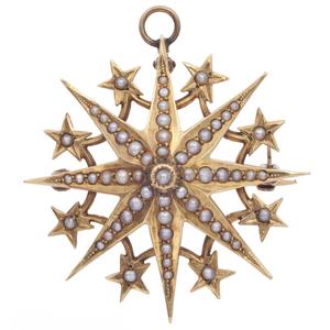Victorian Seed Pearl, 14k Yellow Gold Pin Pendant