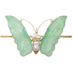 Jade, Fresh Water Pearl, 10k Butterfly Pin