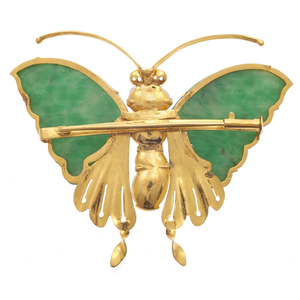 Jade, Fresh Water Pearl, 14k Butterfly Pin