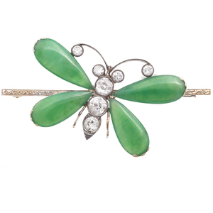 Jade, Diamond, 14k  Butterfly Pin