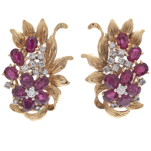 Pair of Diamond, Ruby, 14k Yellow Gold Earclips