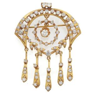 Diamond, Colorless Stone, 14k Yellow Gold Pin Pendant