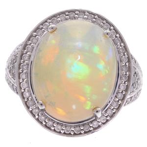Opal, Diamond, 14k White Gold Ring