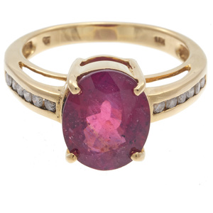 Diamond, Glass-Filled Ruby, 18k Yellow Gold Ring