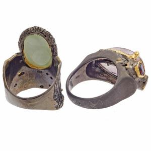 Two Multi-Stone, Blackened Silver Rings