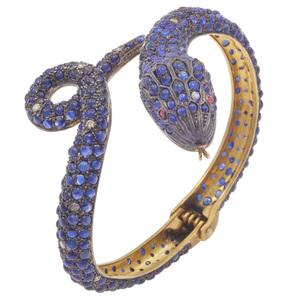 Sapphire, Diamond, Silver Gilt Snake Bracelet