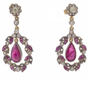 Pair of Ruby, Diamond, Vermeil Earrings