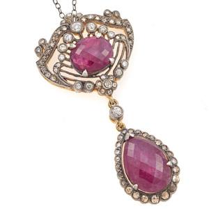 Ruby, Diamond, Silver Gilt Necklace