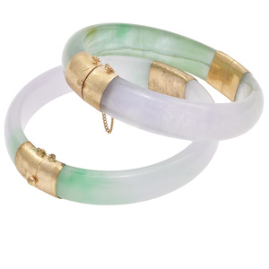 Collection of Two Jade, 14k Bangle Bracelets