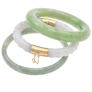 Collection of Three Jadeite, 14k, Bangle Bracelets