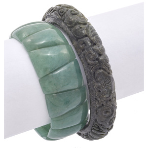 Collection of Two Nephrite, Aventurine Bracelets