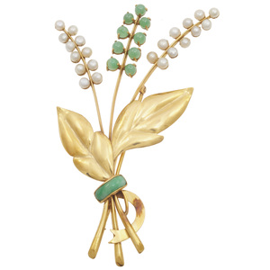Jade, Cultured Pearl, 14k Spray Brooch